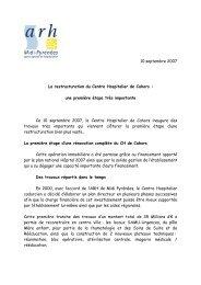 10 septembre 2007 La restructuration du Centre ... - Parhtage santé