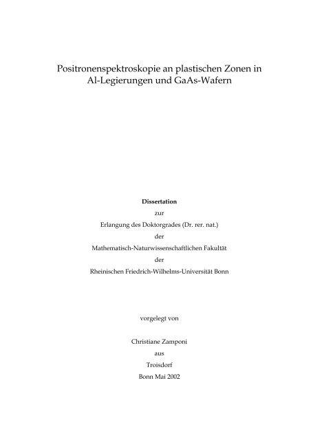 Positronenspektroskopie an plastischen Zonen in Al-Legierungen ...