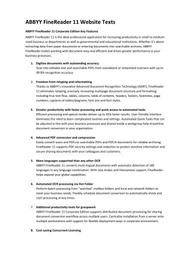 ABBYY FineReader 11 Website Texts