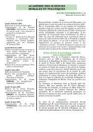 Mercredi 14 février 2001 - Académie des sciences morales et ...