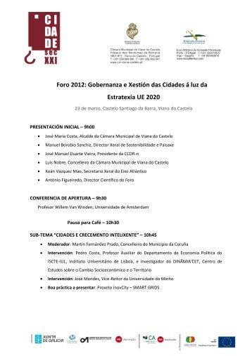 Programa Foro 2012 Pensar a Cidade do Sec XXI.pdf - Eixo Atlantico