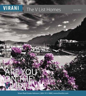 ARE YOU ON THE V LIST ? - Virani Real Estate Advisors