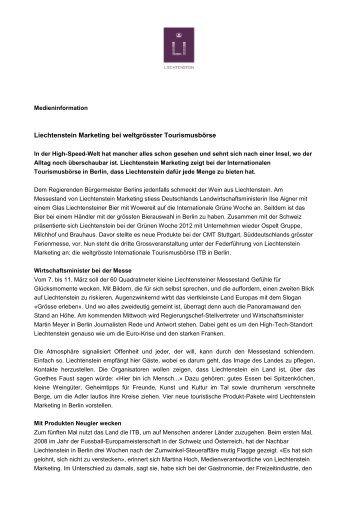 Liechtenstein Marketing bei weltgrösster Tourismusbörse