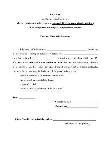 CERERE pentru ajutorul de deces (în caz de ... - SIP Hunedoara