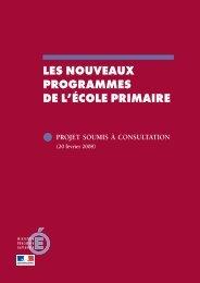 Programme du primaire en consulation - Ministère de l'Éducation ...