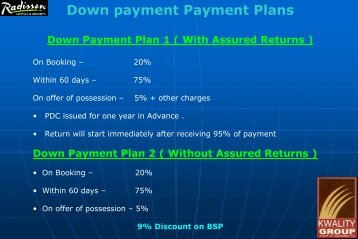 Down payment Payment Plans