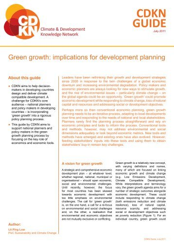 Green growth: implications for development planning - CDKN Global
