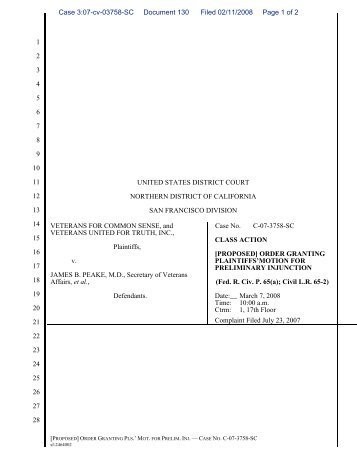 Proposed Order on Plaintiffs' Motion for Preliminary Injunction
