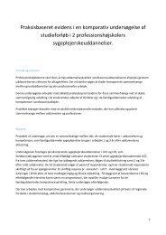 Praksisbaseret evidens i en komparativ undersøgelse af studieforløb ...