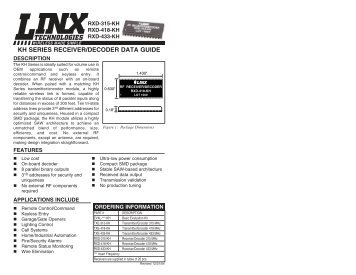 KH Series Receiver/Decoder Data Guide