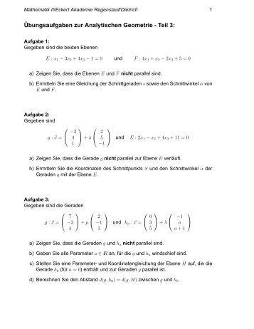analytische geometrie matheaufgaben