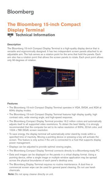 The Bloomberg 15 Inch Compact Display Terminal