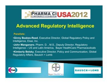 Advanced Regulatory Intelligence - Pharma CI Conference