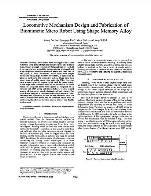 Locomotive mechanism design and fabrication of biomimetic
