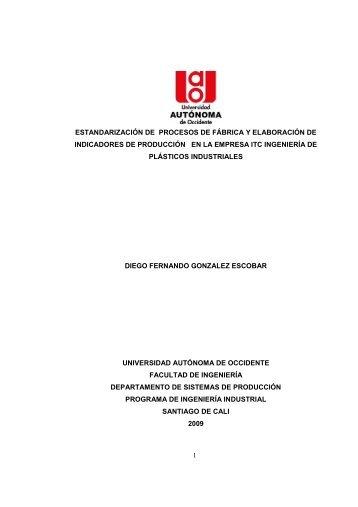 Estandarizacion de procesos de fabrica y elaboracion - Repositorio ...