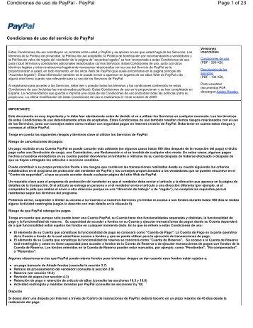 Page 1 of 23 Condiciones de uso de PayPal - PayPal