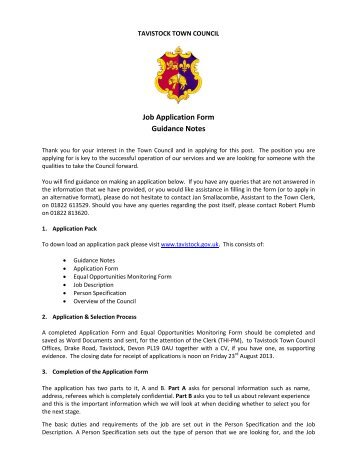 Job Application Form Guidance Notes - Tavistock Town Council