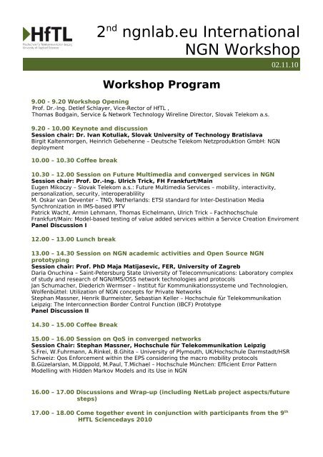 2nd ngnlab.eu International NGN Workshop - Hochschule für ...