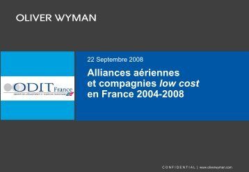 Alliances aériennes et compagnies low cost et ... - Atout France