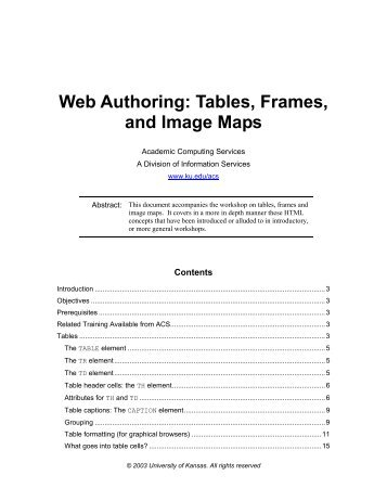 Tables, Frames, and Image Maps - The University of Kansas