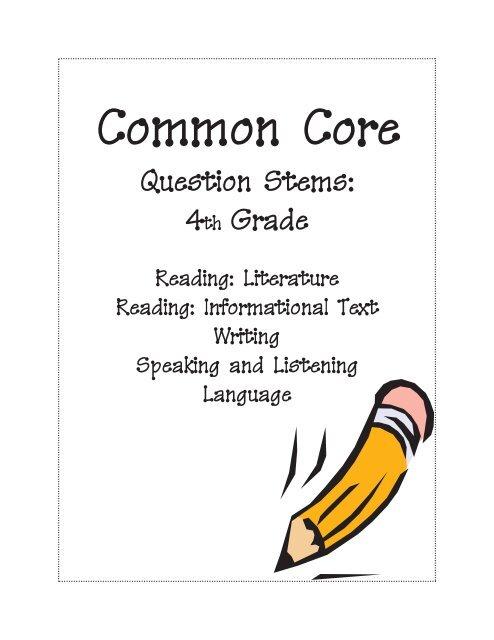 Question Stems 4th Grade