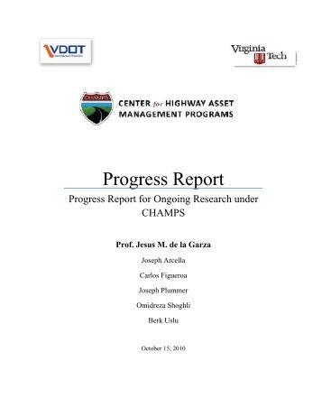 Progress Report - CHAMPS - Virginia Tech