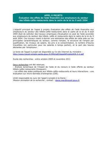 Présentation des résultats Appel à projets - Ministère du Travail, de l ...