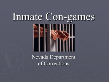 Be Aware of Con Games - Nevada Department of Corrections