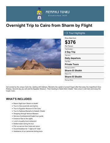 Overnight Trip to Cairo from Sharm by Flight - Memphis Tours Egypt