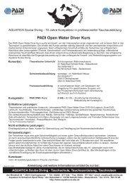 Kursinhalte PADI Open Water Diver Kurs - AQUATICA