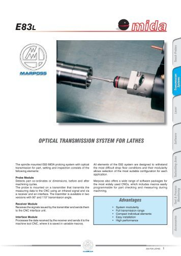 optical transmission system for lathes e83l - Marposs
