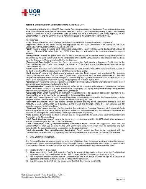 Terms & Conditions of UOB Commercial Card facility - United ...