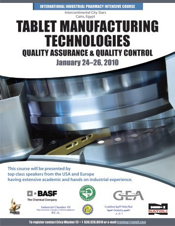 taBlet manuFacturinG technoloGies - GEA Pharma Systems