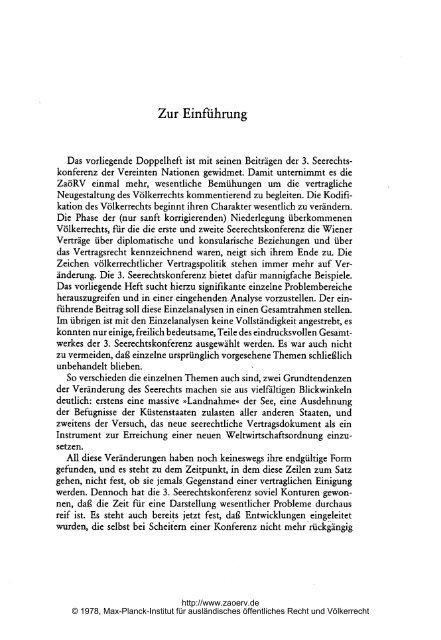 Zur Einführung - Zeitschrift für ausländisches öffentliches Recht und ...