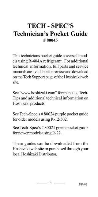 tech - spec's technician's pocket guide - hoshizaki america, inc