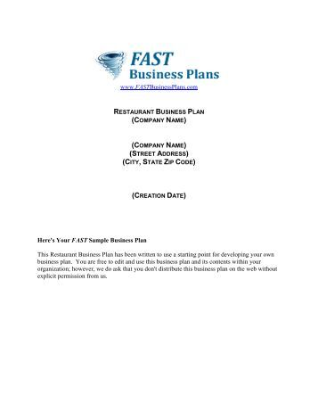 A Sample Fast Food Restaurant Business Plan Template