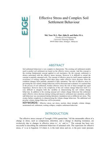 effective stress and soil mechanical behaviour - Ejge.com