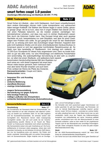 Umfassender Test smart fortwo coupé 1.0 passion - ADAC