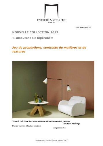 NOUVELLE COLLECTION 2012 - Modenature