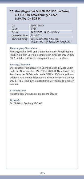 20. Grundlagen der DIN EN ISO 9001 in Bezug auf die BAR ...