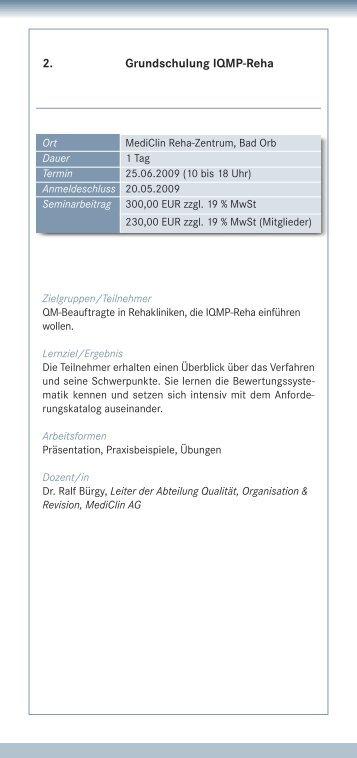 2. Grundschulung IQMP-Reha - IQMG Institut für ...