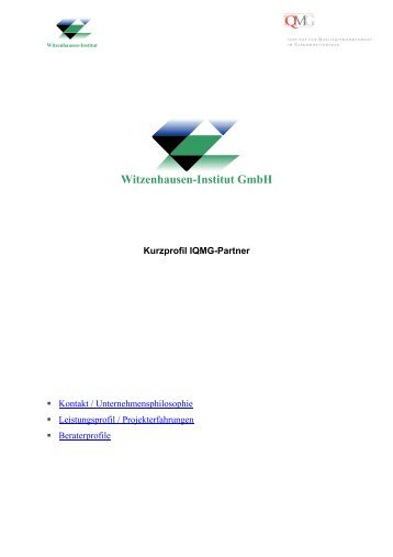 Witzenhausen-Institut GmbH - IQMG Institut für ...