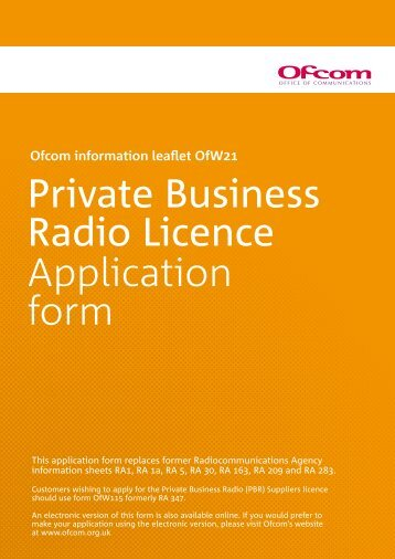 Private Business Radio Licence Application form - Co-Channel