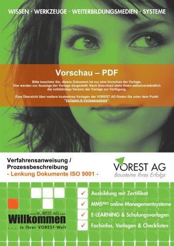 Prozessbeschreibung Lenkung Dokumente ISO 9001 - Vorest AG