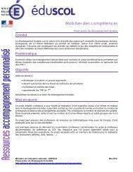 projet autour du développement durable - Ministère de l'Éducation ...