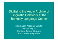 Digitizing the Audio Archive of Linguistic Fieldwork at the Berkeley ...
