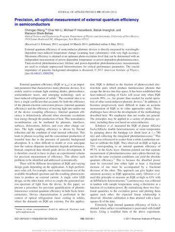 Precision, all-optical measurement of external quantum efficiency in ...
