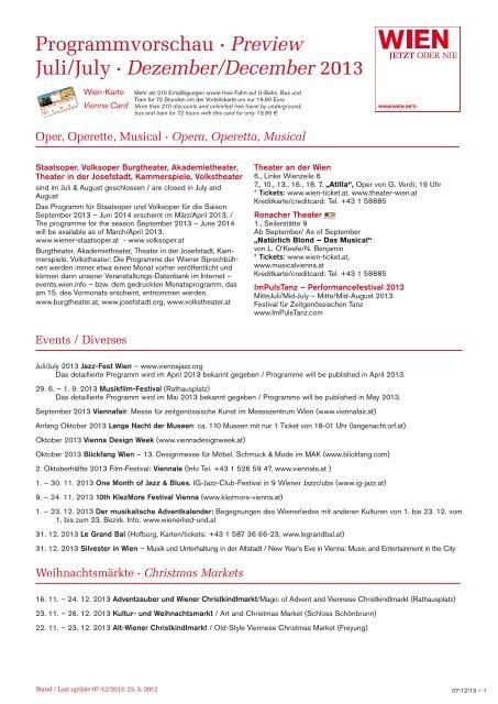 Programmvorschau · Preview Juli/July · Dezember/December 2013