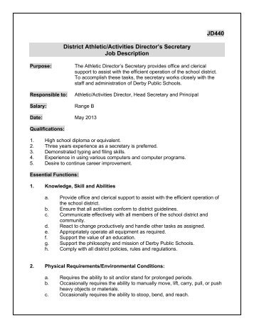 Jd SuperintendentS Secretary Job Description  Derby Public