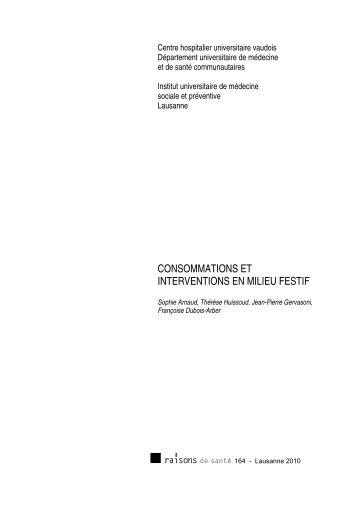 Consommations et interventions en milieu festif - IUMSP